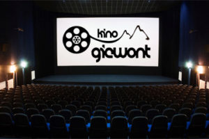 front view to the movie screen in the cinema